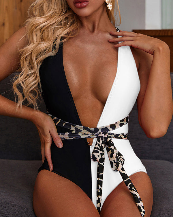 Splicing One Piece Swimsuit With Belt