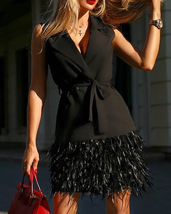 Notched Collar Feather Insert Sleeveless Blazer Dress