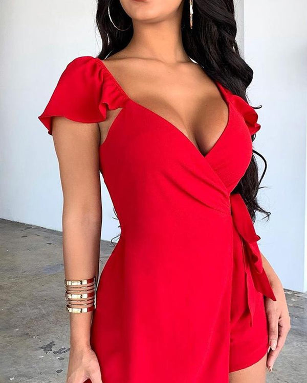 Solid Deep V Mini Dress