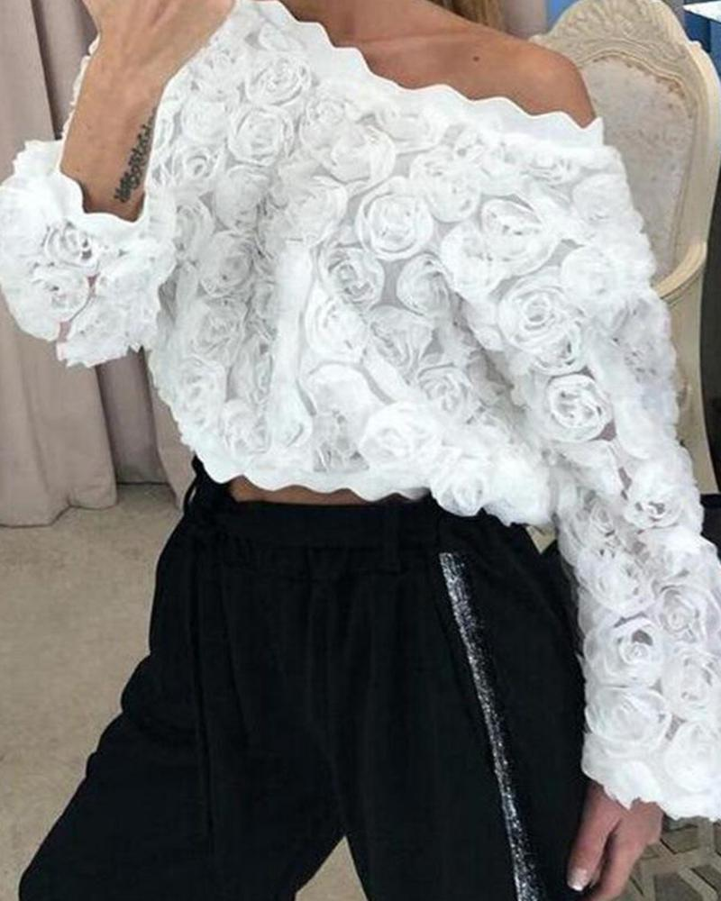 Scalloped Rose Floral Mesh Top