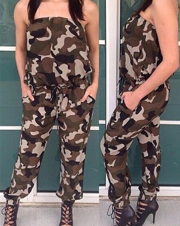 Sexy Off Shoulder Print Army Camouflage Jumpsuit  Cool Adjustable Waist Casual Long Pants Rompers