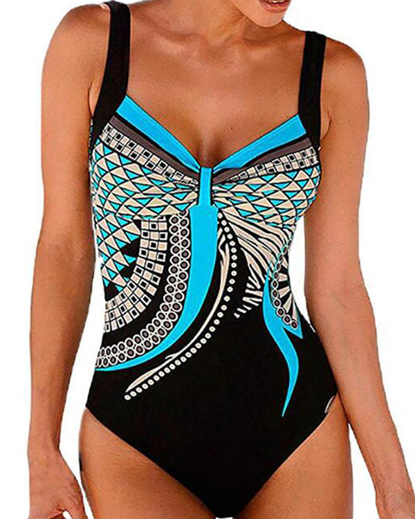 Backless Retro Print One Piece Swimsuit