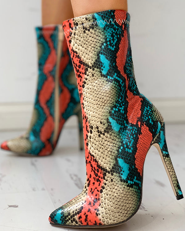Snakeskin Print Pointed Toe Thin Heeled Boots