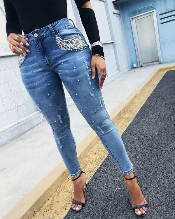 Beaded Pocket Design Ripped Skinny Jeans