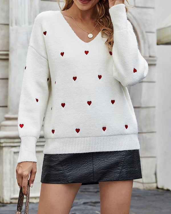 Heart Print Long Sleeve Casual Sweater
