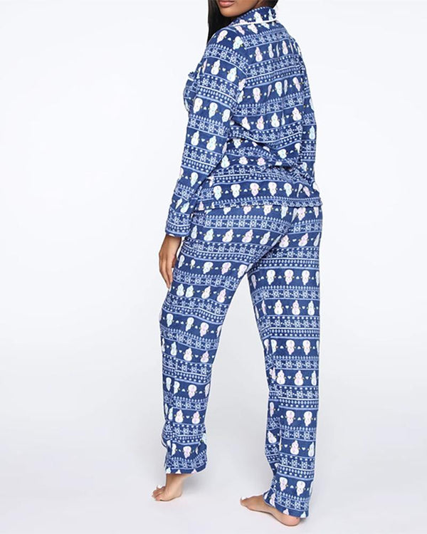 Christmas Button Design Long Sleeve Pajamas Set