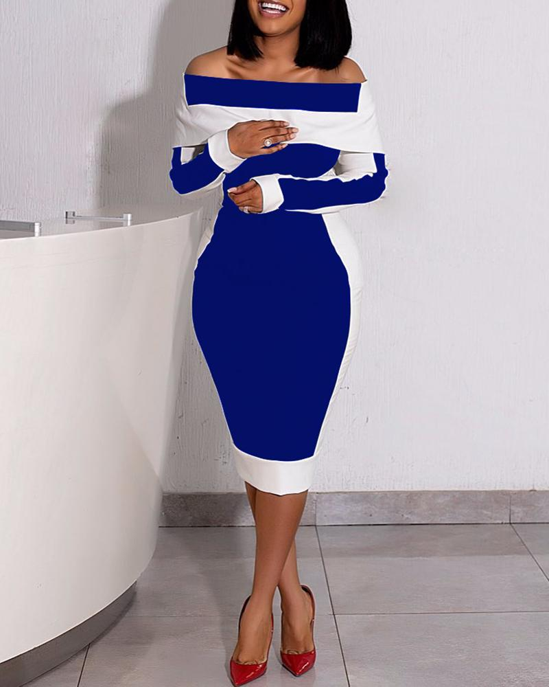 Colorblock Off Shoulder Long Sleeve Dress