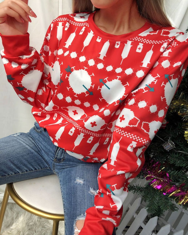 Christmas All Over Print Long Sleeve Sweatshirt