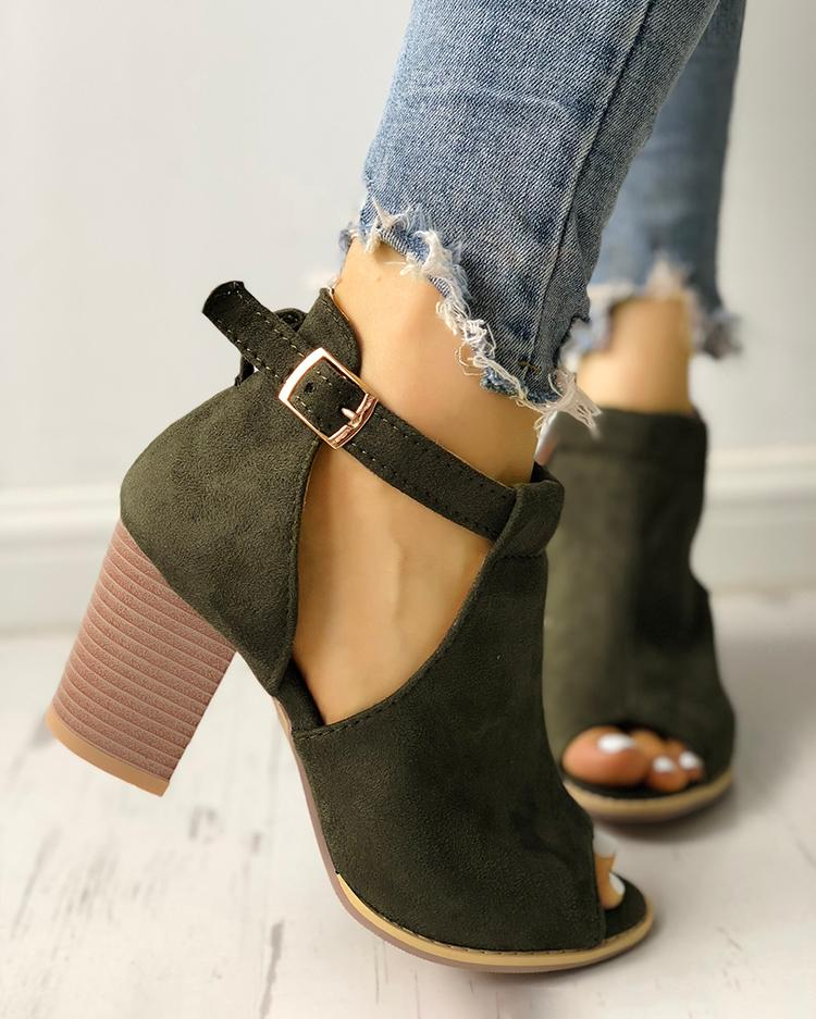 Side Cutout Open Toe Block Buckle Heels Sandals