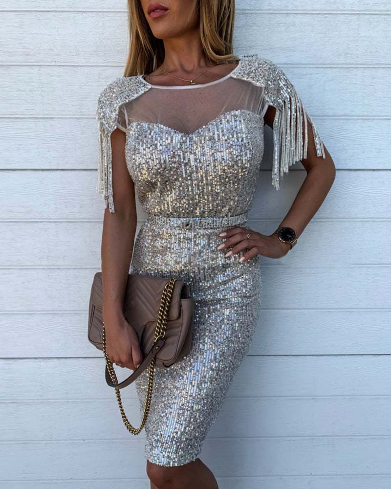 Glitter Tassel Design Sheer Mesh Insert Sequins Bodycon Dress