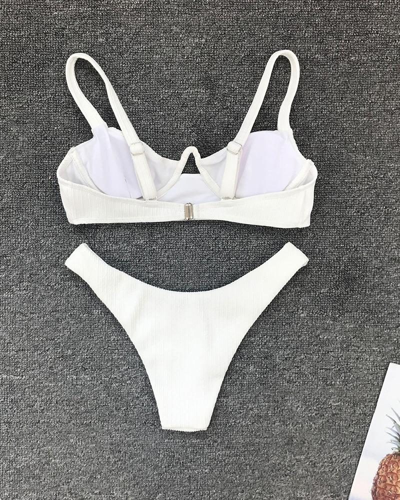 Underwire Cut Out Bikini Set