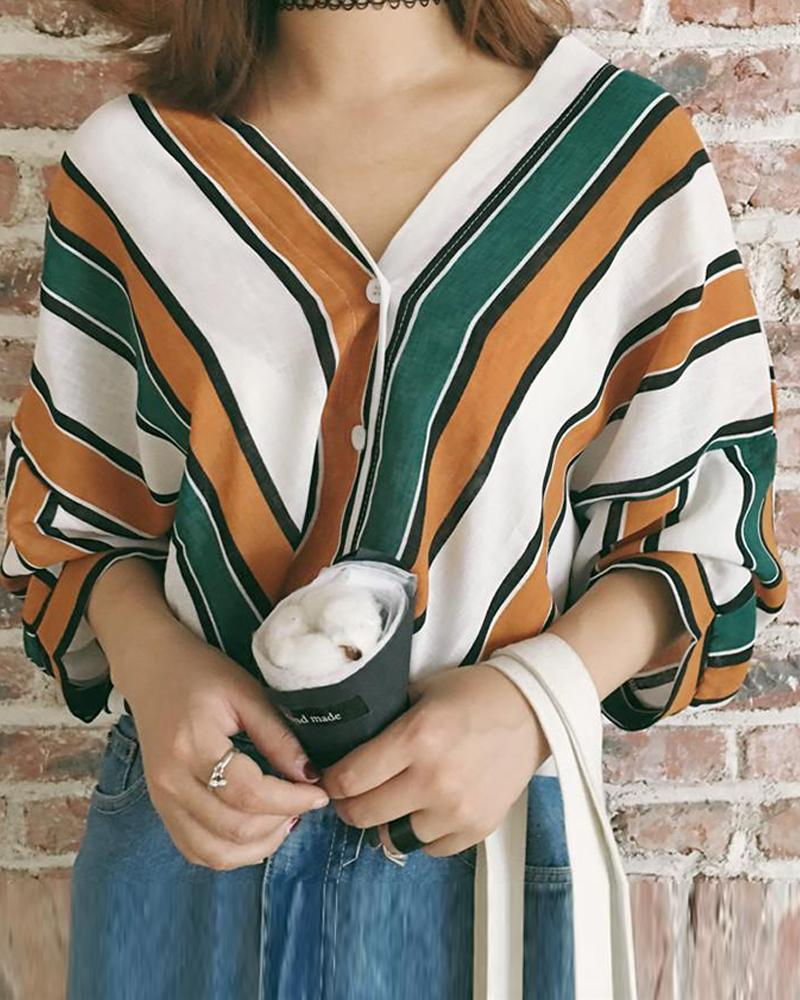 Striped V Neck Batwing Sleeve Top