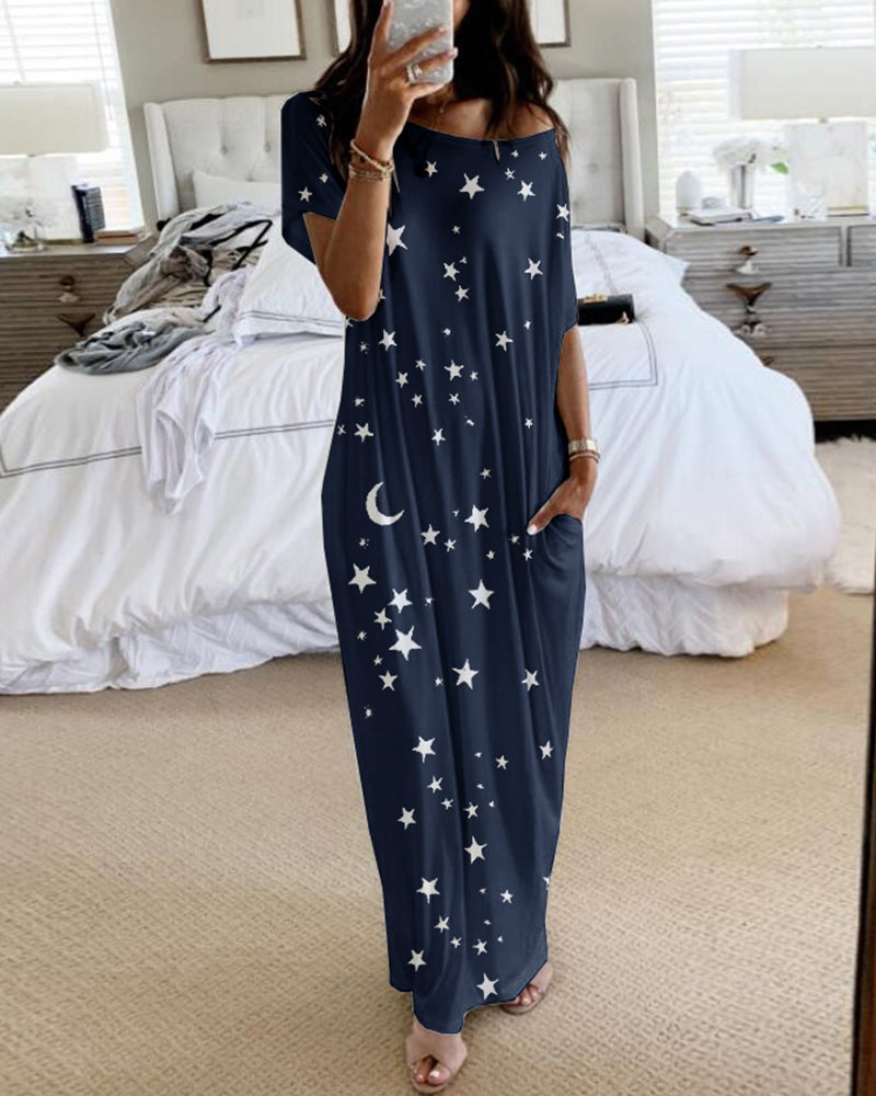 Short Sleeve Stars Print Casual Dress