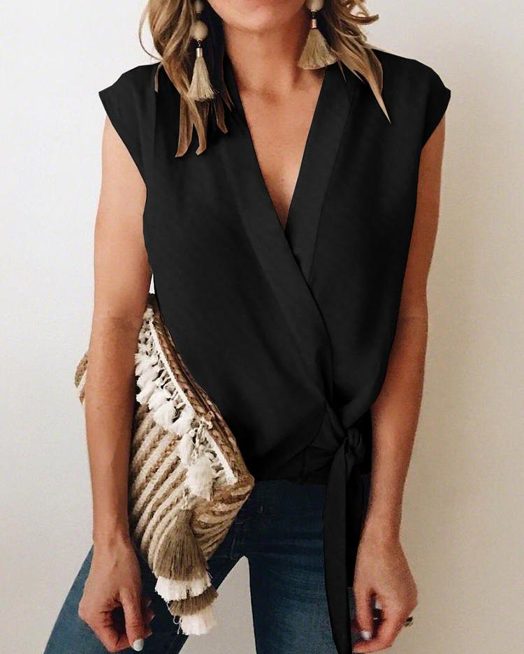 Solid Color Tie Waist Wrap Blouse