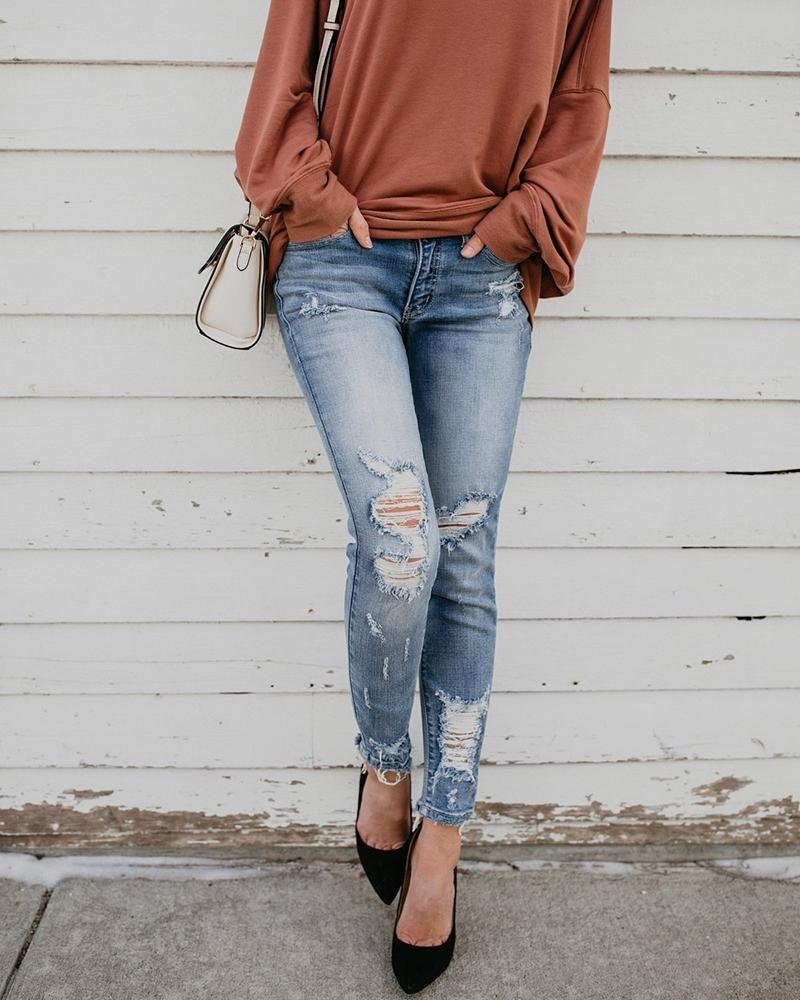 High Waist Frayed Ripped Denim Pants
