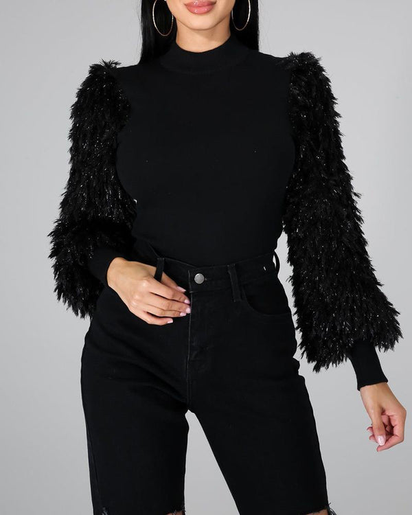 Mock Neck Fluffy Long Sleeve Sweater
