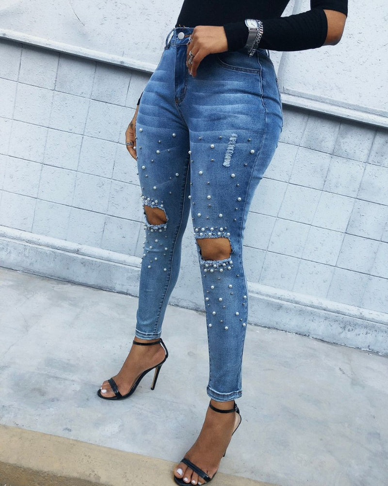 Beaded Pocket Design Cutout Ripped Jeans