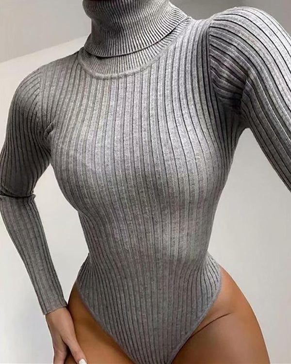 High Neck Long Sleeve Knit Bodysuit