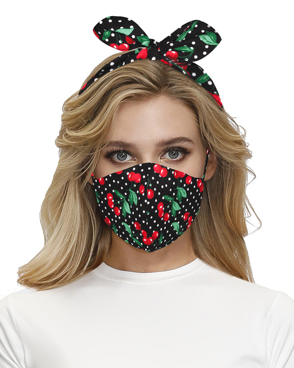 Cherry Polkadot Print Hairband Breathable Face Mask