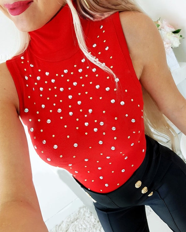 Studded Sleeveless Mock Neck Top