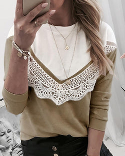 Round Neck Lace Hollow Out Blouse