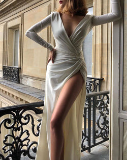 Solid Long Sleeve High Slit Ruched Dress