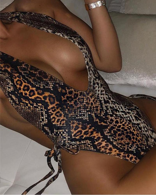 Snake Print Plunge Swimsuit