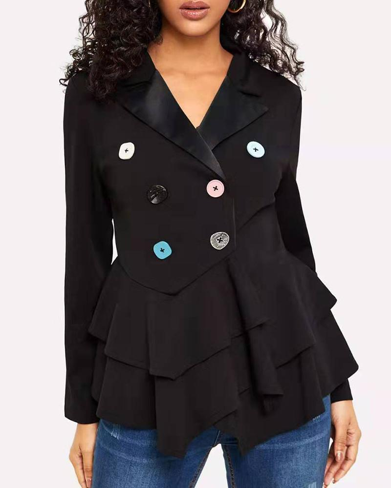 Notched Collar Double-breasted Layered Ruffles Blazer