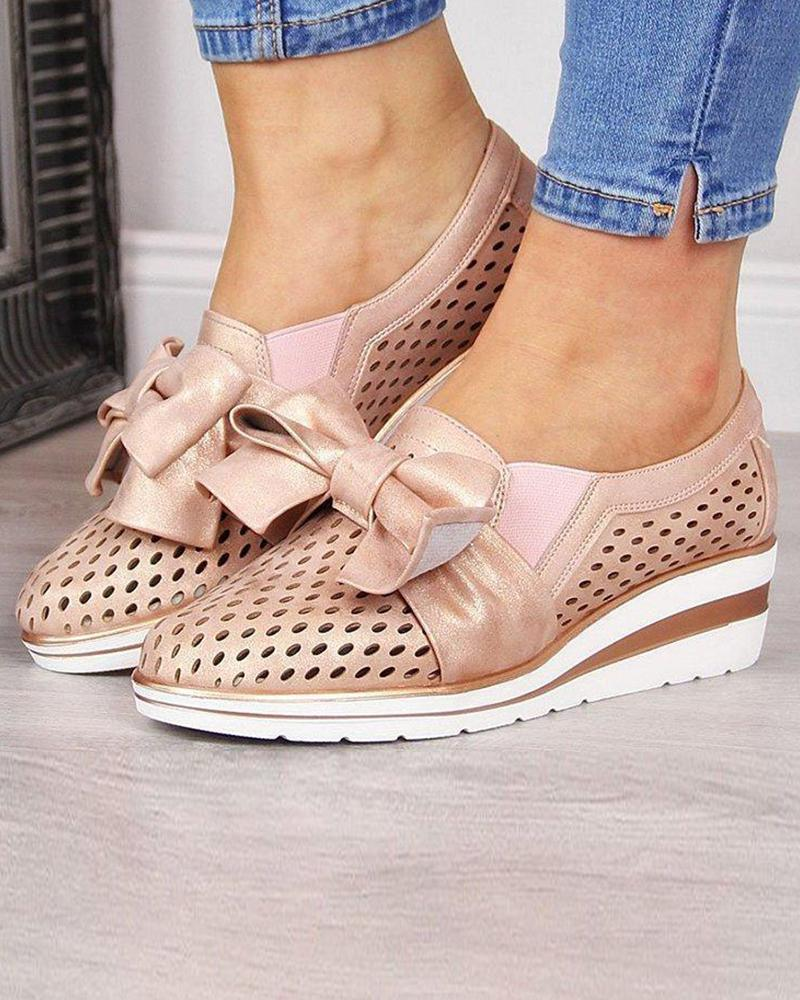 Perforated Bow Tie Platform Sandal