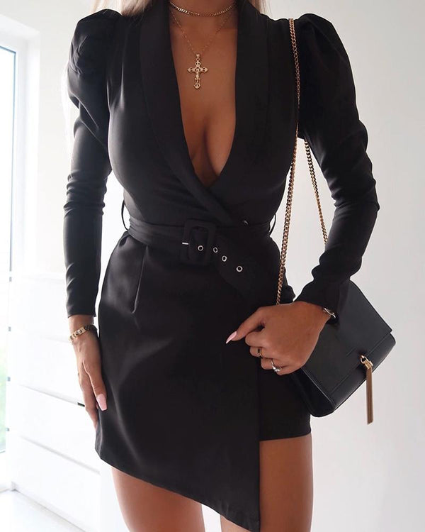 Deep Plunge Bodycon Mini Dress