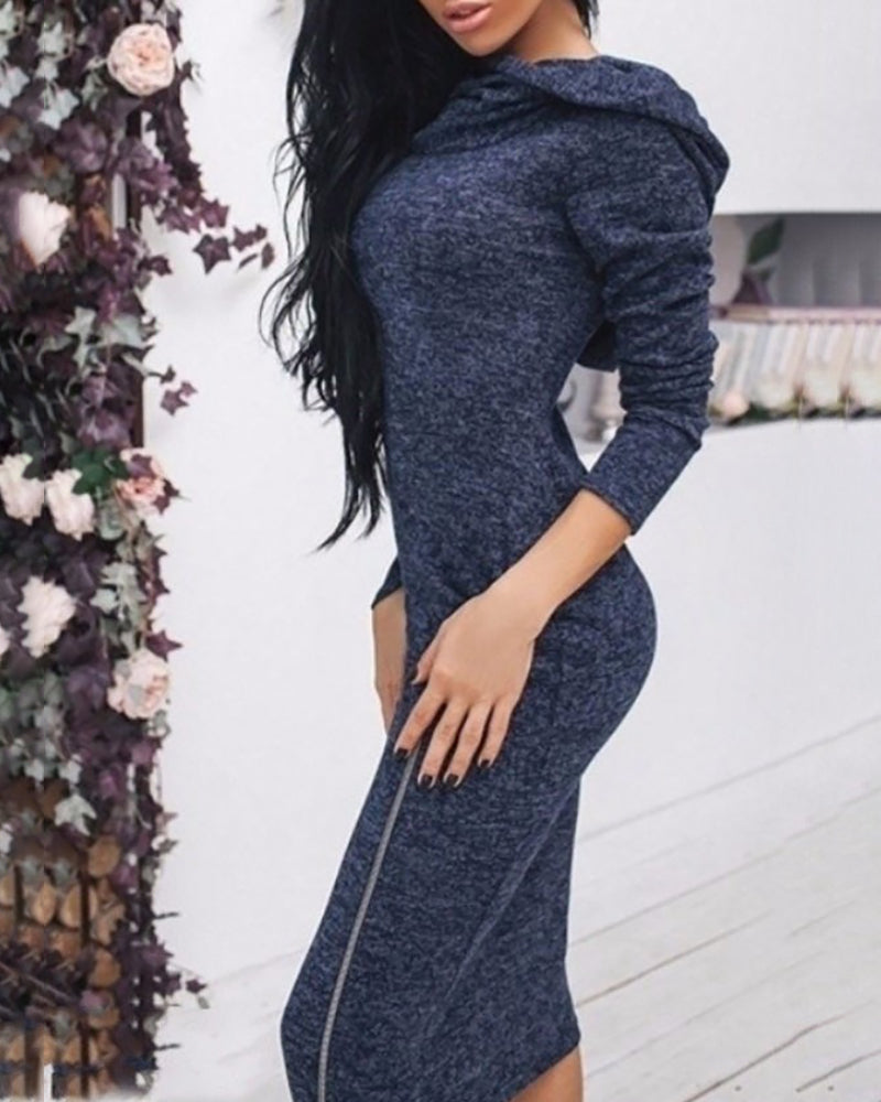 Solid Hooded Zipper Design Long Sleeve Slit Sweatshirt Dress