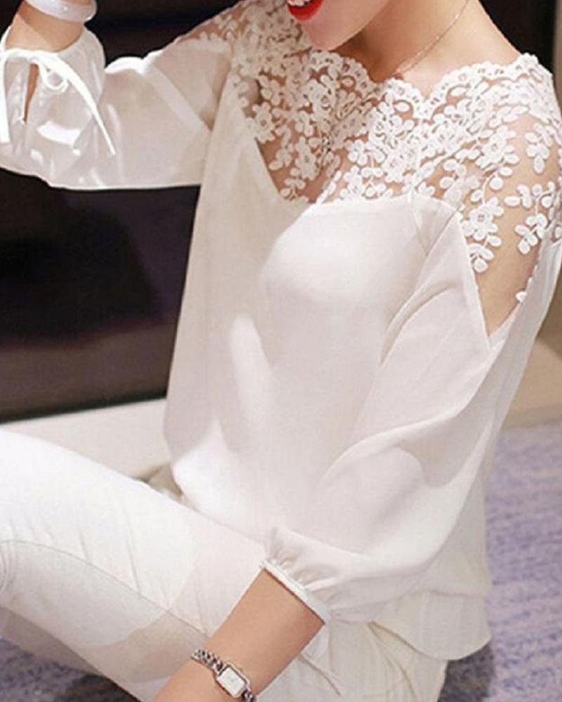 Long Sleeve Lace Neck Top