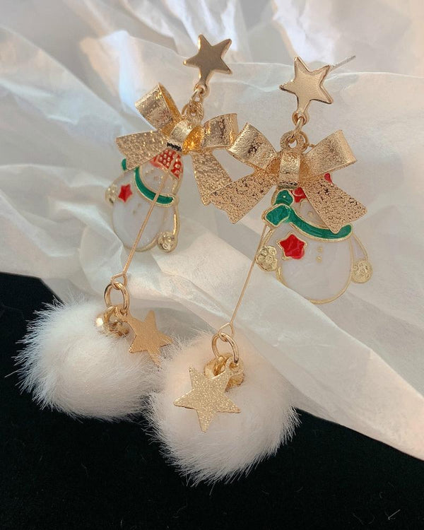 Christmas Bowknot Snowman Pattern Pom Pom Drop Earrings