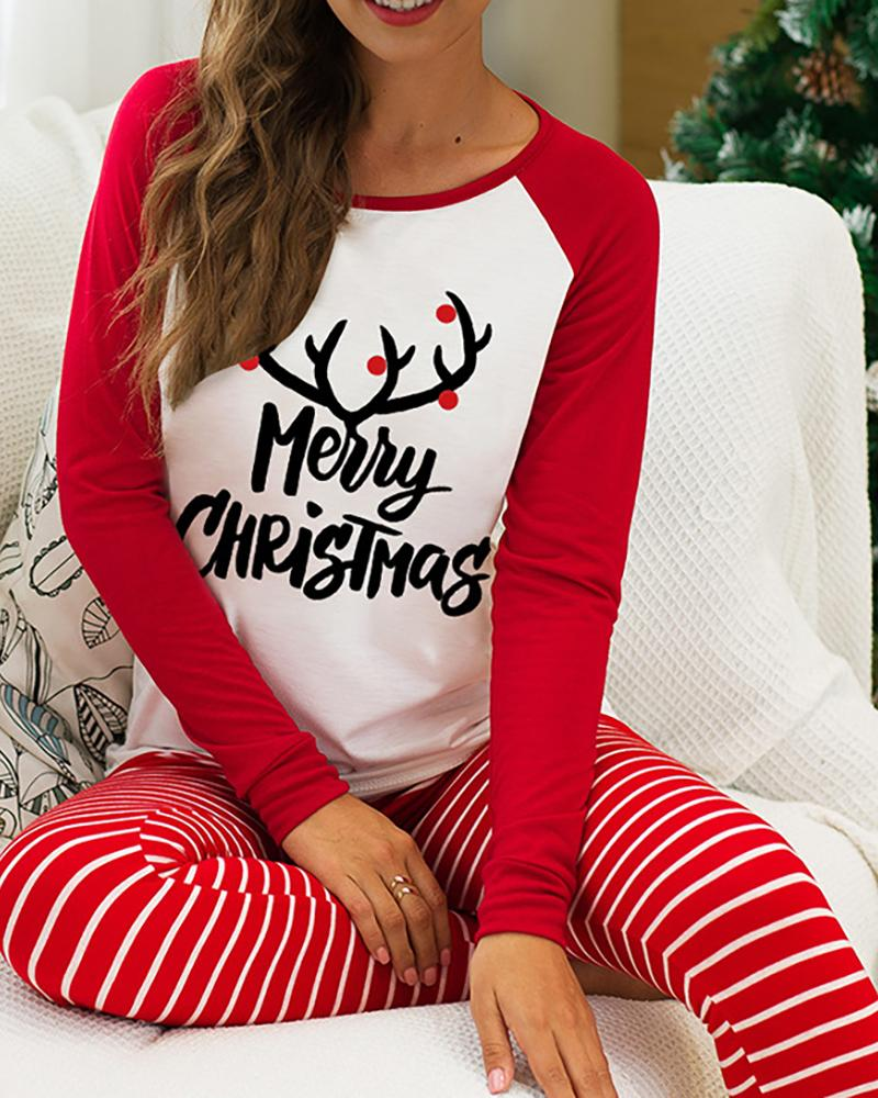 Christmas Print Lounge Top & Striped Pants Set