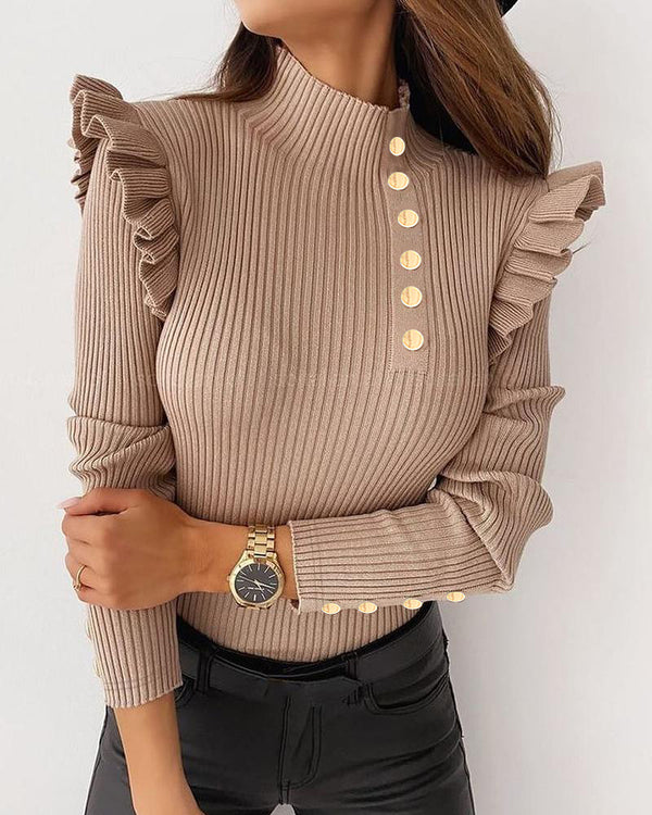 Solid Ruffles Long Sleeve Fitting Sweater