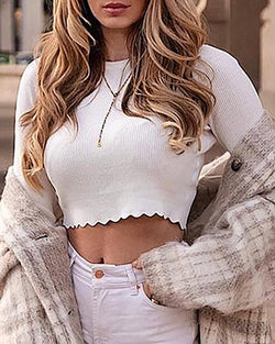 Solid Ribbed Long Sleeve Crop Sweater
