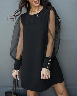Puffed Sleeve Buttoned Mesh Casual Dress