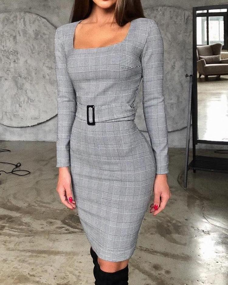 Square Neck Grid Belted Long Sleeve Dress