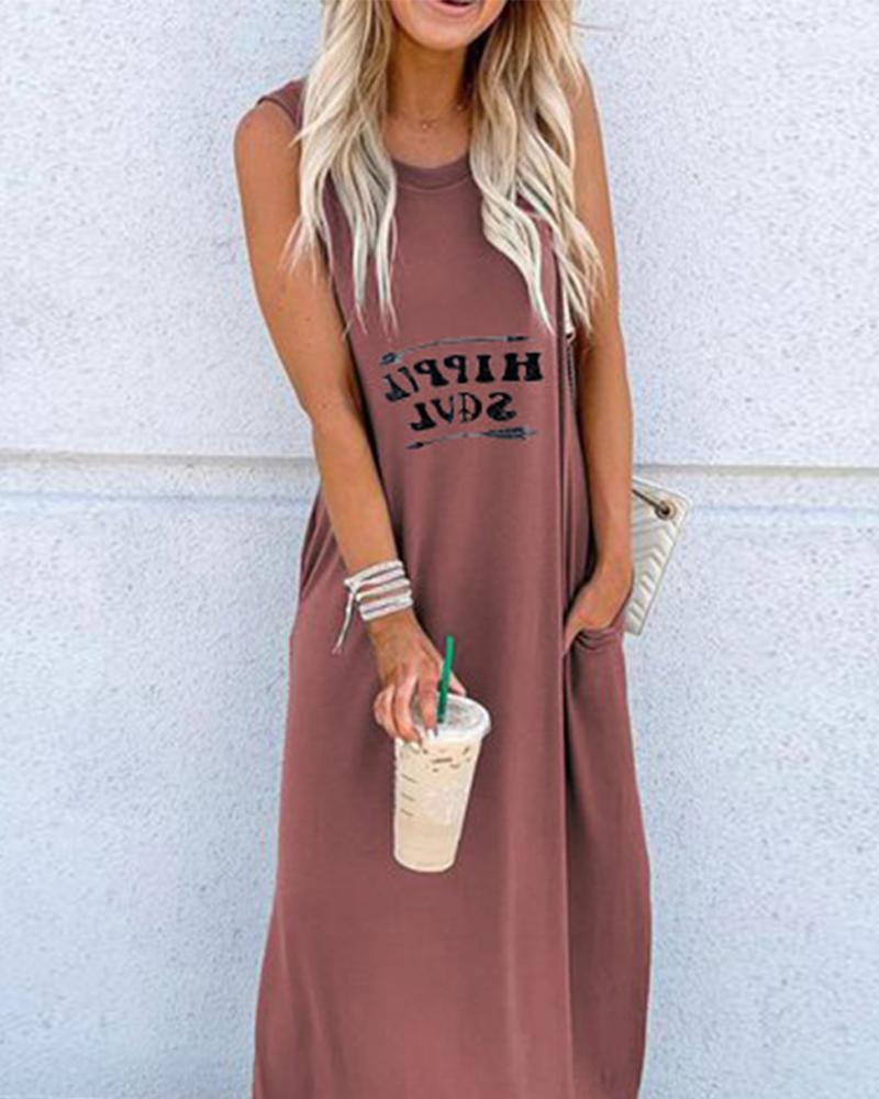 Round Neck Sleeveless Maxi Dressa