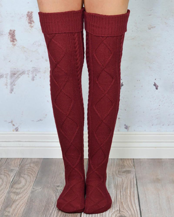 Braided Knit Over The Knee Socks