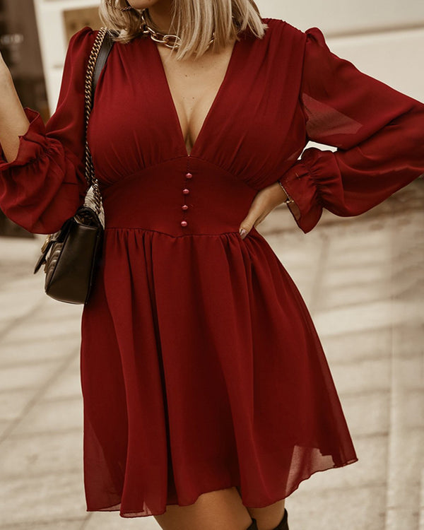 Button Design Plunge Long Sleeve Casual Dress