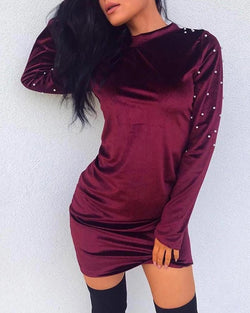 Studded Sleeve Mini Shift Dresss