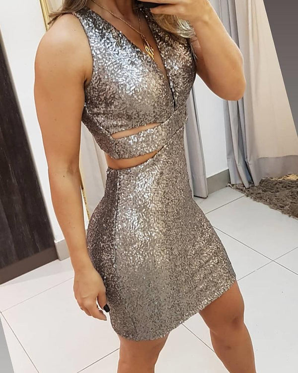 Sequined Cutout Bodycon Mini Dress