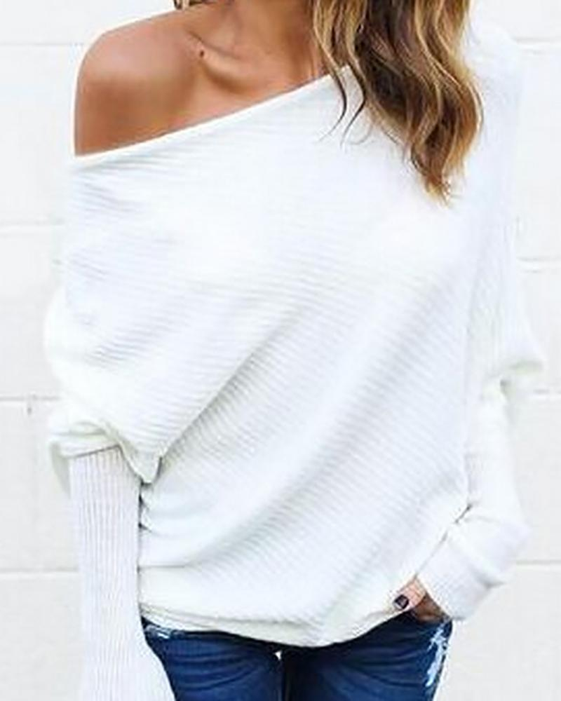 Skew Neck Batwing Sleeve Ribbed Casual Blouse