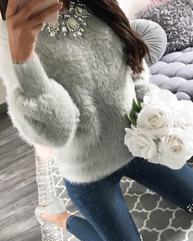Warm Solid Fluffy Casual Sweater