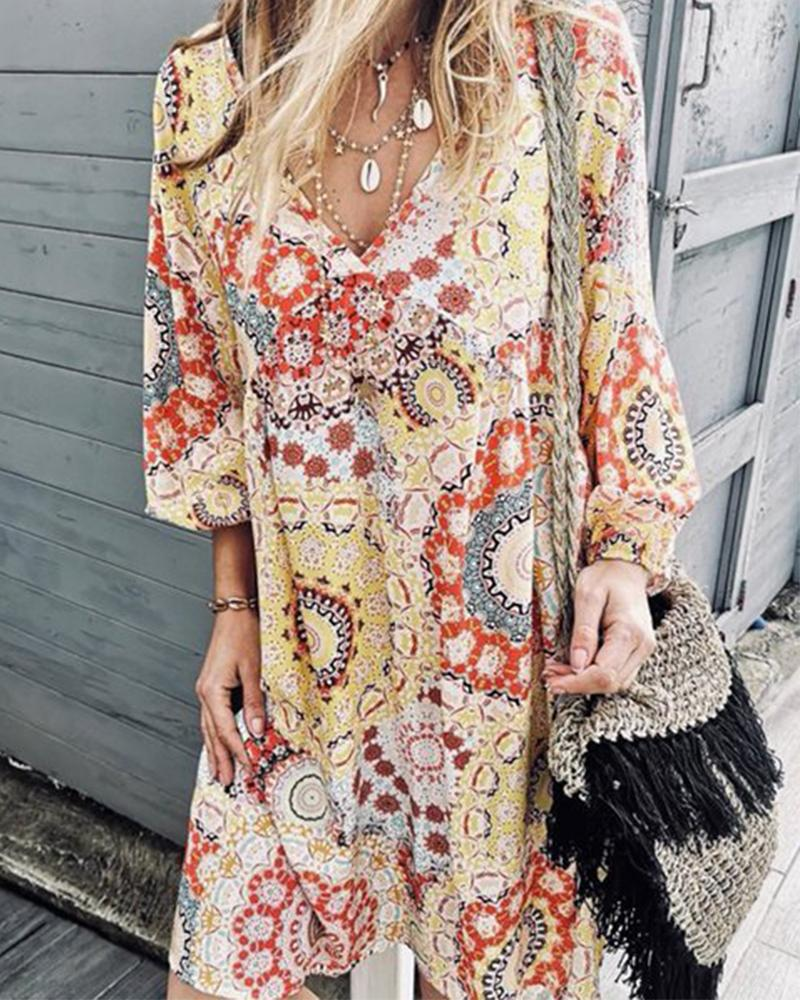V Neck Long Sleeve Casual Dress