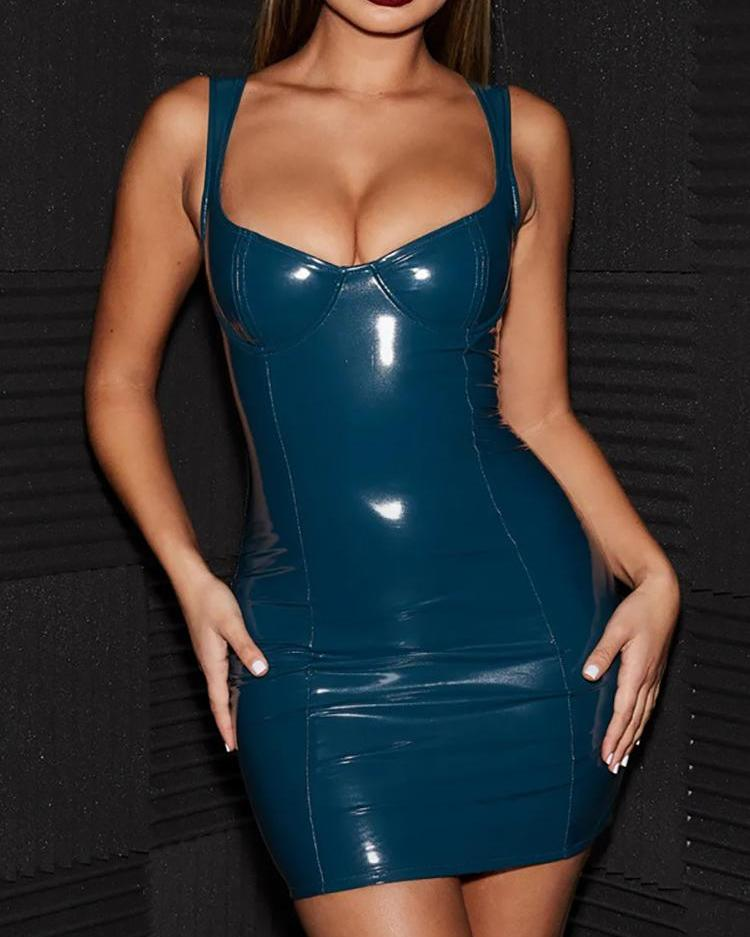 Thin Strap PU Bodycon Dress
