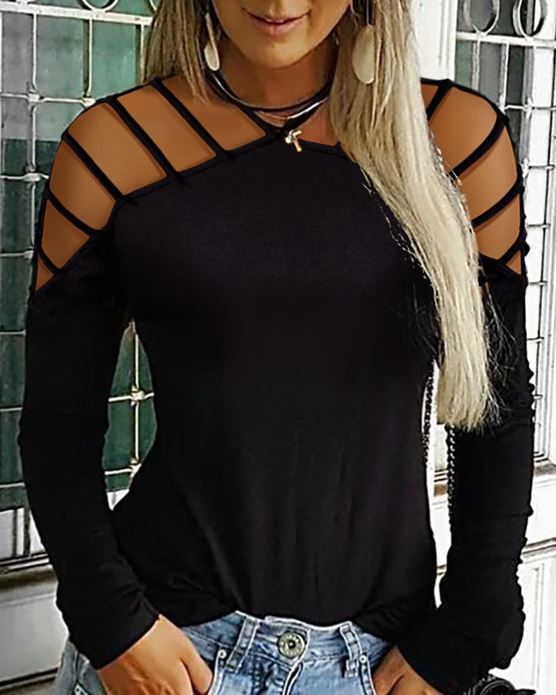 Halter Neck Ladder Cut Out Casual Top