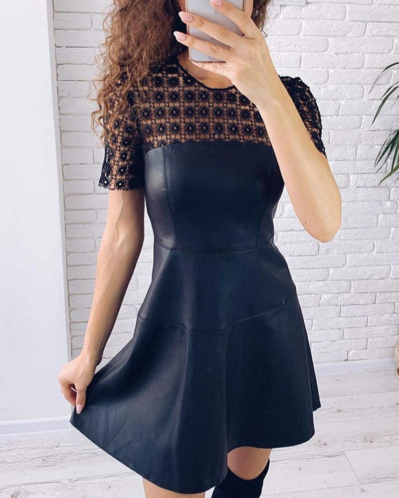Round Neck Short Sleeve Lace Insert PU Ruffles Dress