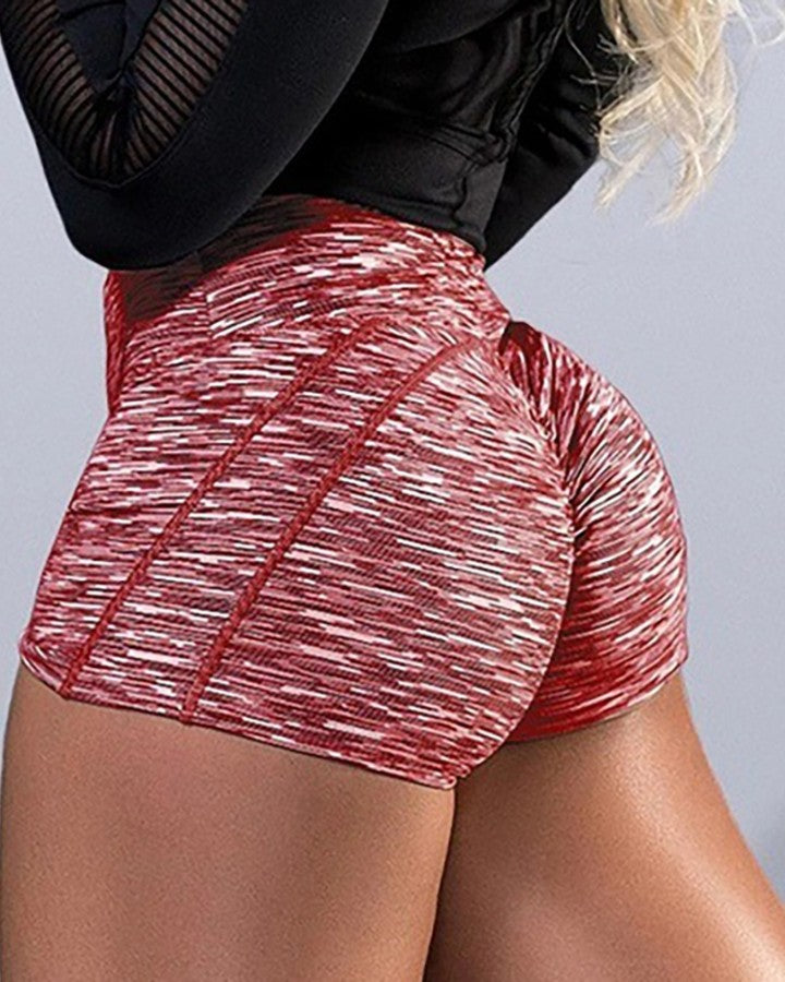 Colorblock Ruched High Waist Sporty Shorts